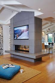 living room stainless steel fireplace in modern sleek living