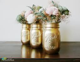 dorm decor gold painted ball mason jars vase by beachblues the