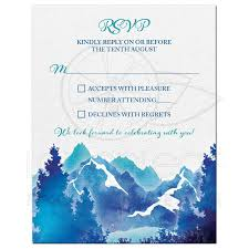 Wedding Invitation Reply Card Mountain Wedding Rsvp Card Watercolor Royal Blue Turquoise