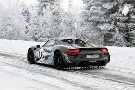 new porsche 918 spyder scoop new porsche 918 spyder shows its monotone shades on the snow