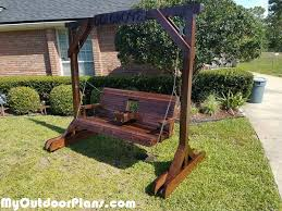 diy porch swing with center console and stand diy plans