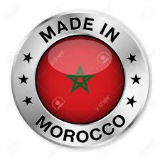 Flag With Red Circle Made In Morocco Silver Badge And Icon With Central Glossy Moroccan
