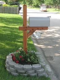 landscape block adhesive exterior simple mailbox ideas integrated with decorative paver