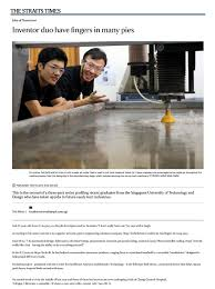 design engineer job from home featured on the straits times inventor duo have fingers in many