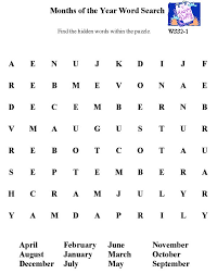 bluebonkers free printable word search sheet months of the year