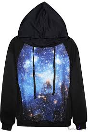 blue space print black hoodie beautifulhalo com