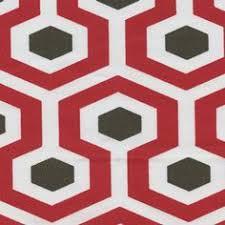 Geometric Drapery Fabric Hiro Timberwolf Red Slub Geometric Drapery Fabric By Premier