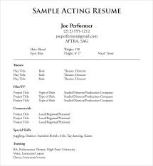 theatre resume acting resume exles cover letter resume
