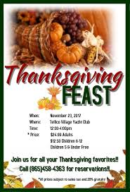 thanksgiving feast information tellico yacht club