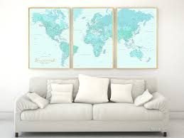 World Map Prints by Highly Detailed Word Map Poster Set In Aquamarine Set Of 3 Split