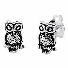 owl stud earrings sterling silver owl stud earrings