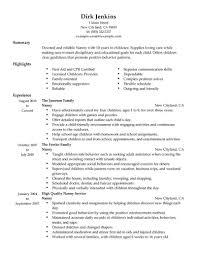 nanny resume exles best nanny resume exle livecareer