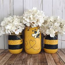 mason jar home decor bumble bee mason jars home decor set of 3 mason jars black and