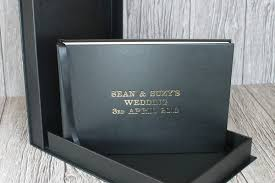 black leather photo album leather wedding photo album drop back box