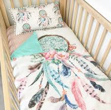 Duvet Baby Image Of Aqua Pink Dream Catcher With Aqua Dots Cot Quilt Baby