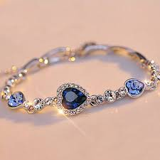 s charm bracelet hot fashion women blue jewelry silver plated charm