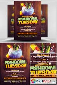 fish bowl tuesday flyer template free download photoshop vector