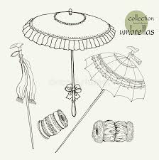 collection womens old umbrellas vector illustration sketch on
