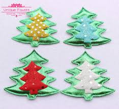 50pcs kawaii glitter fabric christmas tree appliqued patches
