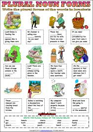 plural forms of nouns esl grammar exercise worksheet esl