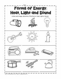 heat light or sound worksheets