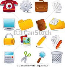 icone de bureau bureau icône ensemble bureau illustration vecteur