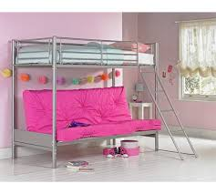 Buy HOME Metal Futon Bunk Bed With Ashley Mattress Fuchsia At - Futon bunk bed with mattresses