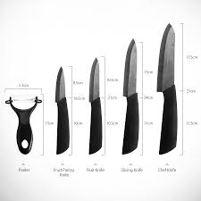 kcasa kc kf5 5 pieces black blade zirconia ceramic knife set multi