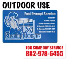 custom garage door sales and service labels