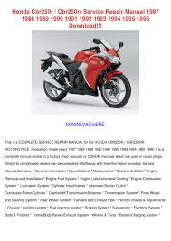 honda cbr250r cbr250rr service repair manual by kasi hairfield issuu