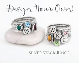 design your own mothers rings stackable rings design your own silver stack birthstone and