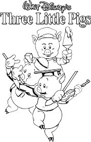 walt disney 3 little pigs coloring page wecoloringpage
