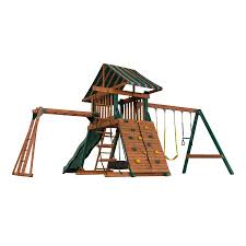 Playground Flooring Lowes by Shop Heartland Playsets Captain U0027s Loft B Residential Wood Playset