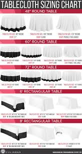 can you put a rectangle tablecloth on a round table simple chart for common tablecloth sizes ever wonder what size