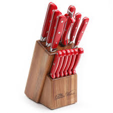Red Kitchen Knives by The Pioneer Woman Cowboy Rustic Cutlery Set 14 Piece Walmart Com
