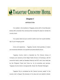 Sample Objectives In Resume For Ojt Hrm Students by Hotel Practicum Report Tagaytay Country Hotel Chap 1 U00262 Chef