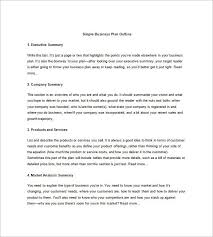 business plan outline template u2013 10 free sample example format