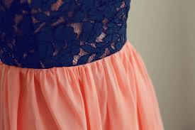 navy blue lace coral chiffon hi low prom dresses party dress