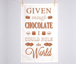 chocolate tea towel typographic dish cloth easter quotes
