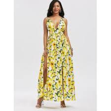 wholesale lemon print split backless cami maxi dress xl yellow
