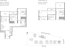 sq ft to sq m the glades condo floor plan u2013 2br suite u2013 bc3 u2013 58 sqm 624 sqft