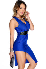 blue dress royal blue black plunge neckline faux leather trim dress