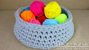 diy learn how to make t shirt yarn u0026 crochet a basket tshirt t