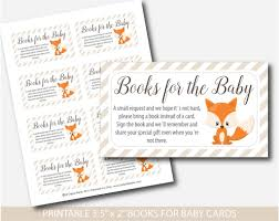 baby shower bring a book instead of a card woodland bring a book instead of a card inserts fox baby shower