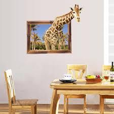 sk9139 3d giraffe fake window wall stickers home decor living room