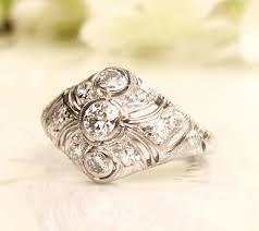 antique engagement ring old european cut diamond platinum art deco