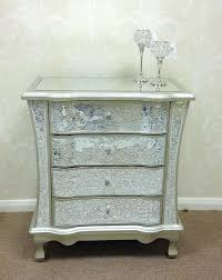 Mirror Chest Of Drawers Sparkly Champagne Silver Crackle Mosaic Mirrored Glass 4 Drawer