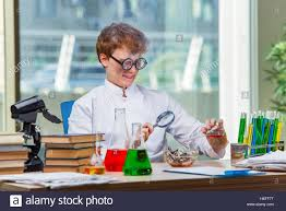 Lab Chemist Young Crazy Chemist Working In The Lab Stock Photo Royalty Free