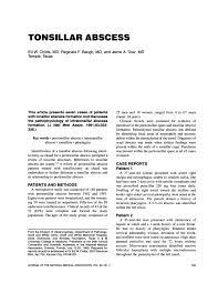 orlando population tonsillar abscess pdf download available