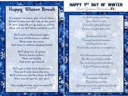 winter break vacation poem for kids u0026 1st day of winter solstice